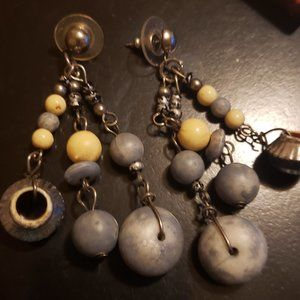 A Uniquely Beaded Pair of Pierced Earrings